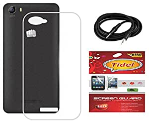 Tidel Silicon TPU Transparent Soft Back Cover For Micromax Canvas Play 4G Q469 With Tidel Screen Guard & Aux Cable