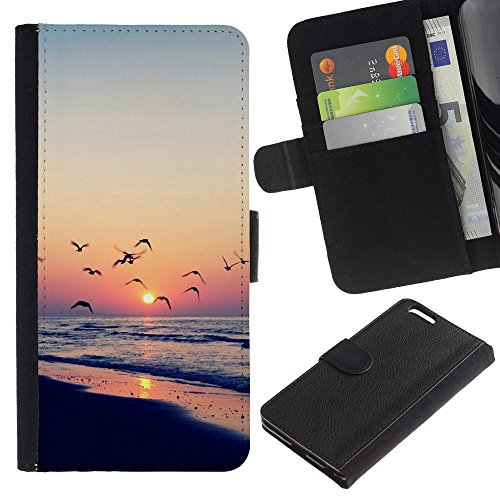 Licase / Wallet Leather Case Cover With Card Slots – Twilight coast – Apple Iphone 6 PLUS 5.5