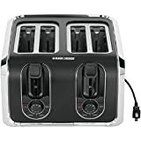 Black & Decker TR1400SB 4-Slice Toaster, Black/Silver