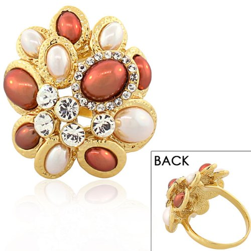 Stainless Steel Yellow Gold Plated White Brown Pearl Crystals Statement Cocktail Womens Ring (8)
