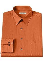 Van Heusen Mens Classic Fit Satin Striped Dress Shirt Orange Koi