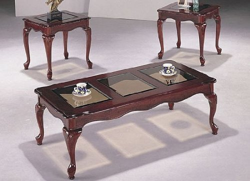 3pcs Queen Anne Style Coffee End Table Set W Glass Insert New Best Seller Coffe Table