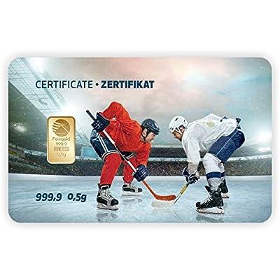 Goldbarren Geschenkkarte 0,5 g 0,5g Gramm Feingold 999.9 Nadir Gold Sport Eishockey