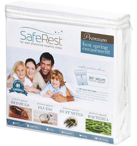 "Full Xl Size Saferest Premium Hypoallergenic Zippered Certified Bed Bug Proof Box Spring Encasement 9"" - Vinyl Free"