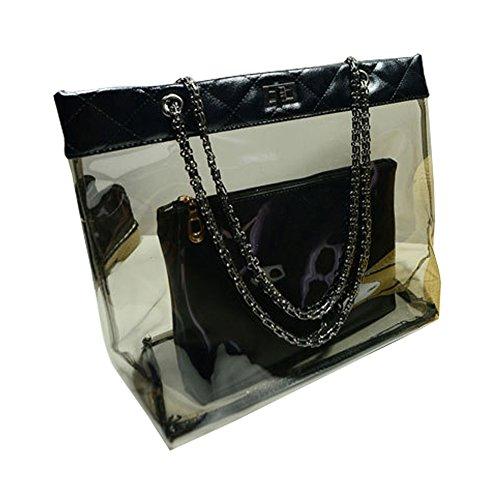 FTSUCQ Womens Casual Chain Clear Tote Transparent Beach Handbag Black Trapeze Bags