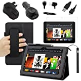 BIRUGEAR SlimBook Leather HandStrap Folio Stand Case w/ Charger, Screen Protector for Kindle Fire HDX 7 (2013) 7 inch Tablet ( Black Case)