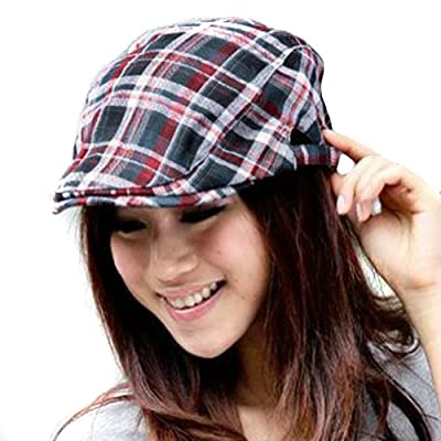 LOCOMO Checker Check Plaid Tartan Newsboy Beret Cap Hat FFH039