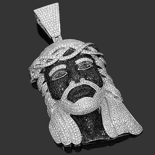 14K White Gold Mens Diamond Jesus Head Pendant