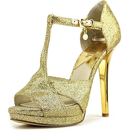 Michael Michael Kors Diana T-Strap Donna US 10 Oro Tacchi Alti