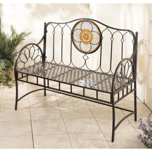 Casa style mexican spanish iron garden bench - Sillas en hierro forjado ...