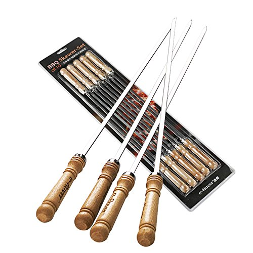 Cheapest Prices! E-Rover Large BBQ Stainless Steel Skewer-Set of 10,18.5-lnch Long,0.24-inch Wide
