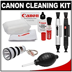 Canon Optical Digital Camera & Lens Cleaning Kit with Flashlight Keychain + Brush, Microfiber Cloth, Fluid & Tissue + Blower + Lenspens for EOS 1D X, 1Ds Mark II, III, IV, 60D, 5D, 6D, 7D, Rebel T2i, T3, T3i & T4i