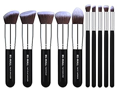 BS-MALL(TM) Makeup Brush Set Premium Synthetic Kabuki Makeup Brush Set Cosmetics Foundation Blending Blush Eyeliner Face Powder Lip Brush Makeup Brush Kit(10pcs, Silver Black)