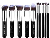 BS-MALL(TM) Makeup Brushes Premium Makeup Brush Set Synthetic Kabuki Makeup Brush Set Cosmetics Foundation Blending Blush Eyeliner Face Powder Lip Brush Makeup Brush Kit(10pcs, Silver Black) (Health and Beauty)