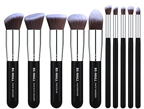 BS-MALL(TM) Makeup Brushes Premium Makeup Brush Set Synthetic Kabuki Makeup Brush Set Cosmetics Foundation Blending Blush Eyeliner Face Powder Lip Brush Makeup Brush Kit(10pcs, Silver Black) (Kabuki Brushes compare prices)
