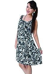 Garden Vareli Womens Satin A-Line Dress (Gardenvareli Western Dress 1016-B _Black _Large)