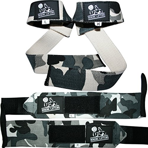 Nordic Lifting Women & Men's Wrist Wraps and Lifting Straps Bundle, 2 Pairs (Camo Grey)