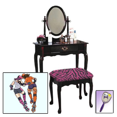 New Roller Derby Girls Themed Cherry Finish Make Up Vanity Set With Adjustable Mirror And Bench With Your Choice Of Seat Cushion Theme! Also Includes Free Hand And Purse Mirror! front-1045956