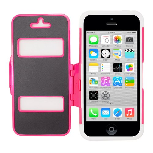 Eagle Cell Iphone 5C Flip Armor Tpu And Hard Case - Retail Packaging - White/Hot Pink