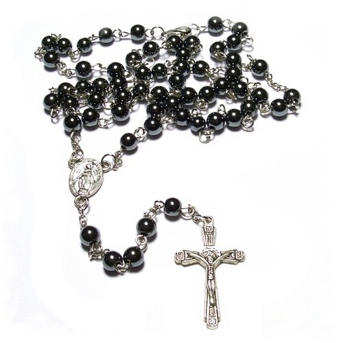 Men's hematite glass rosary necklace in a gift box.