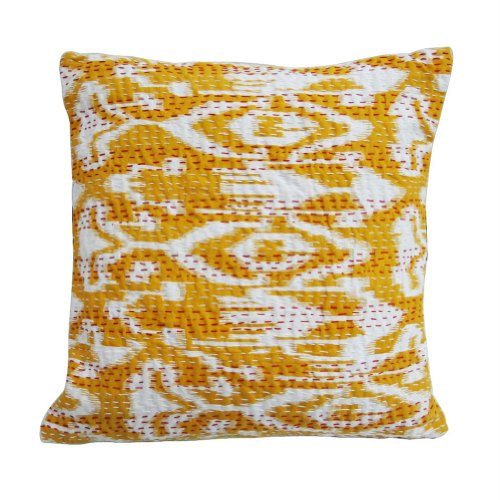 Handcrafted Cushion Cover Decorative Yellow Kantha Traditional Ethnic Pillow Case India Art 16'' Inches