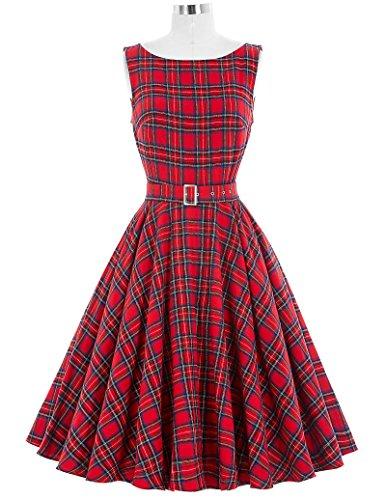 Vintage Sleeveless Swing Dress Women Pleated Formal Dresses Size L BP02-23