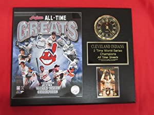 Cleveland Indians All Time Greats Collectors Clock Plaque w 8x10 Photo and Card by J & C Baseball Clubhouse