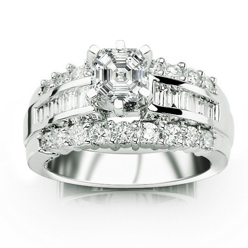 Cheapest 2.03 Carat Asscher Cut / Shape GIA Certified 14K White Gold Channel Set Baguette and Round Diamond Engagement Ring ( E Color , SI2 Clarity )