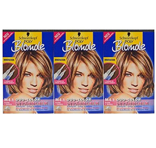 3x Schwarzkopf POLY Blonde M4.1 [ Blond+Mokka ] Duo-Color Strähnchen mit Kamille