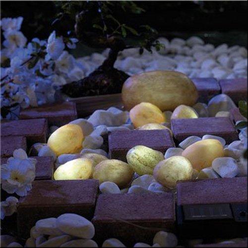 Leuchtsteine 'LIGHT STONE' mit Solarpanel – 12-teiliger Leuchtsatz mit Solarmodul und Solarleuchten für das geheimnisvolle Licht im Garten!