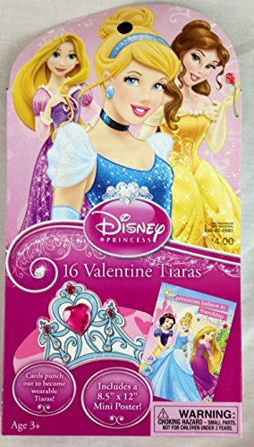 Disney Princess 16 Valentine Tiara Cards with Bonus Poster