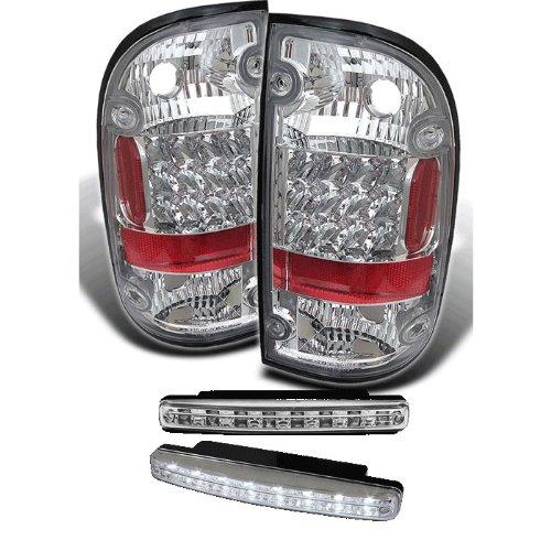 Carpart4U Toyota Tacoma Led Chrome Tail Lights & Led Day Time Running Light Package