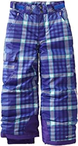 Columbia Girl's Bugaboo Pant, Purple Lotus Plaid, Large