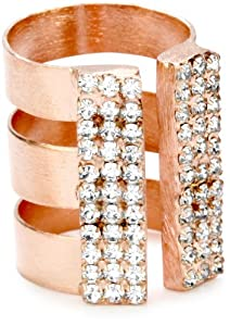 Sheila Fajl 18k Rose Gold-Plated Stack Look Cubic Zirconia Ring, Size 8