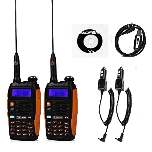 2 Pack Baofeng Pofung GT-3TP Mark-III Tri-Power 8/4/1W Two-Way Radio Transceiver, Dual Band 136-174/400-520 MHz True 8W High Power Two-Way Radio, with 23CM High Gain Antenna, Upgraded Chip + 1 Programming Cable Included