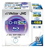 Victor 映像用ブルーレイディスク 1回録画用 片面2層  50GB 4倍速 保護コート(ハードコート) ワイドホワイトプリンタブル 10枚 BV-R260HW10