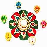 Ghasitaram Acrylic Round T- Lite Rangoli with Diyas