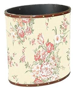 Shabby Chic Oval Cream Floral Design Waste Paper Bin