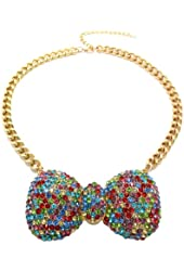 "Colorful Rhinestone Bow Ribbon Charm 16"" Gold Tone Necklace HN1059GDMUL"