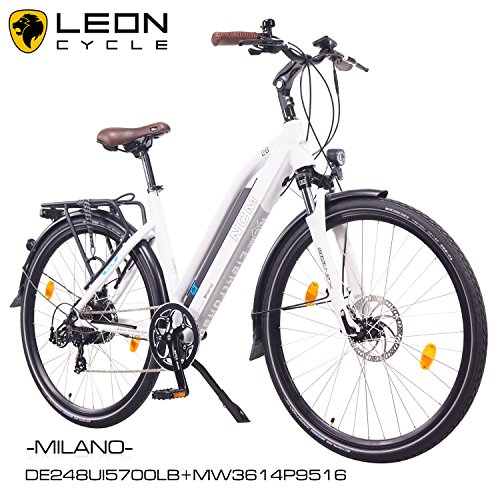 NCM-Milano-201628-Zoll-Elektrofahrrad-HerrenDamen-Unisex-PedelecE-BikeTrekking-Rad-36V-250W-14Ah-Lithium-Ionen-Akku-mit-PANASONIC-Zellen-matt-wei