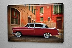 plaque maill e vintage car d coration toit de la voiture blanche de rouge espace m diterran en. Black Bedroom Furniture Sets. Home Design Ideas