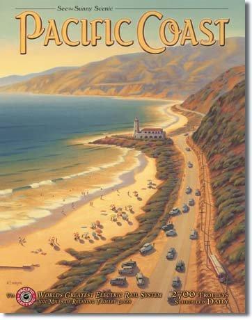 Targa in metallo 'Erickson - Pacific Coast', Dimensione: 30 x 41 cm