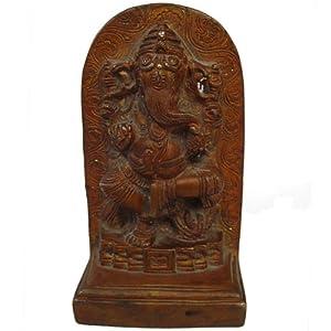 Lord Ganesha Statue Handmade Antique Style Brass Engraved Sculpture