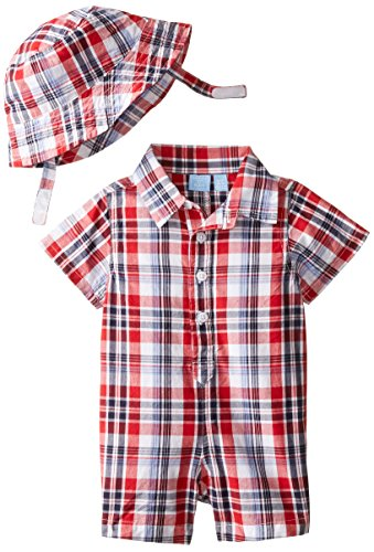 The Children's Place Baby-Boys Newborn Americana Plaid Romper and Hat Set newborn kids baby boy girl infant romper jumpsuit clothes outfit set bebe
