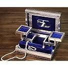"Black Friday Christmas Gifts Wooden Jewelry Box Keepsake Storage Organizer Aluminum Texture 11 X 8"""