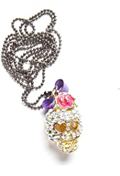 """Cz Crusted Skull Purple Bow Flower 30"""" to 32"""" Necklace"""
