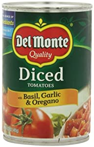 Del Monte Diced Tomatoes Basil, Garlic and Oregano, 14.5-Ounce (Pack of 8)