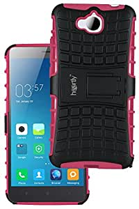 Heartly Flip Kick Stand Spider Hard Dual Rugged Shock Proof Tough Hybrid Armor Bumper Back Case Cover For Huawei Honor Holly 2 Plus - Cute Pink