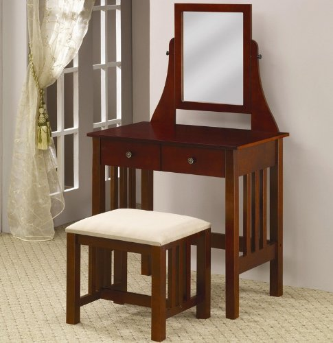 Vanity Table and Chair Set with Mirror in Deep Warm Brown Finish
