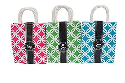 "Assorted bright color Kraft paper gift bags, medium, Bulk set of 24 bags, 8"" x 10"" x 4"""